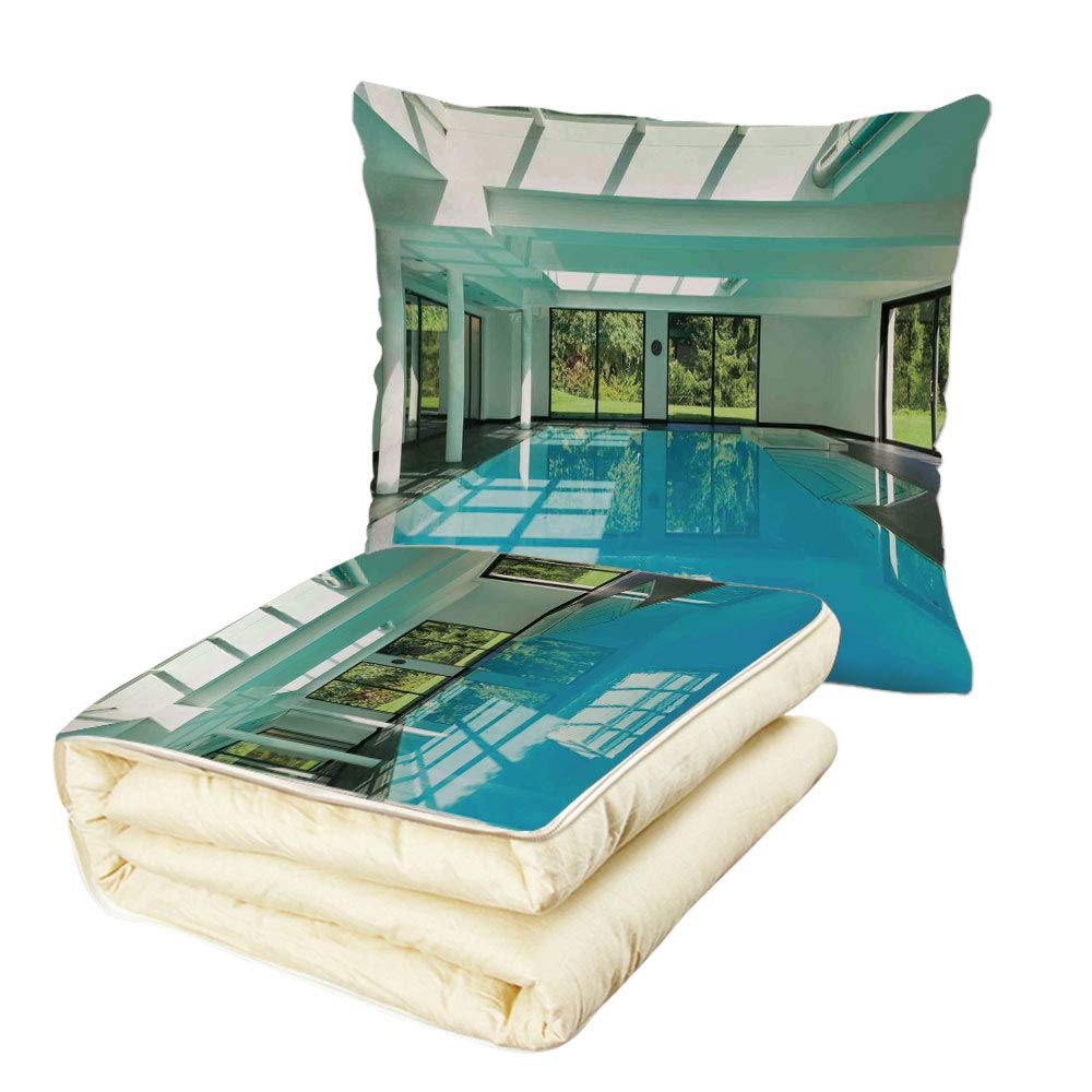 Quilt Dual-Use Pillow House Decor Indoor Swimming Pool of a Modern House with Spa Window Residential Interior Multifunctional Air-Conditioning Quilt