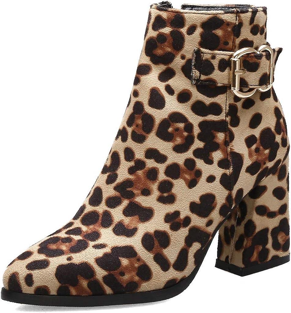 WORMENG - Botas Bajas de Piel de Leopardo y Negro de tacón de 8 cm ...