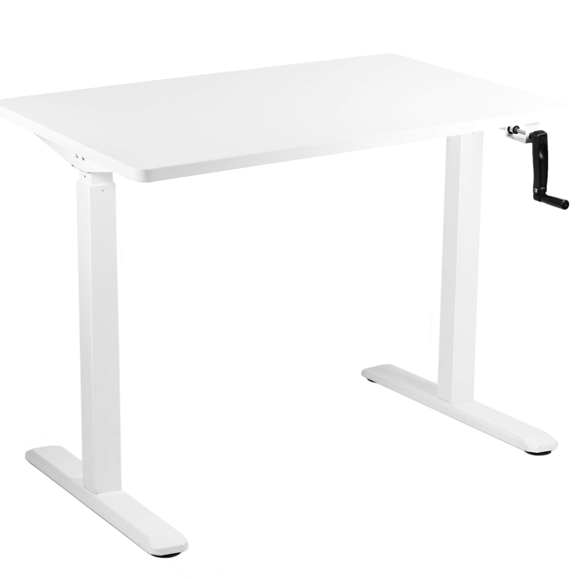 VIVO Manual 43'' x 24'' Stand Up Desk | White Table Top, White Frame, Height Adjustable Standing Workstation with Hand Crank (DESK-KIT-MW4W) by VIVO