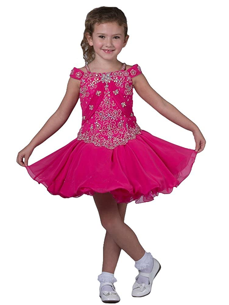 BaoSai Baby Girls Cap Sleeve Short Party Beaded Toddler Cupcakes Pageant Dresses