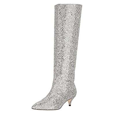f96e9322da Amazon.com | XYD Women Chic Pointy Toe Glitter Knee High Boots Kitten Low  Heel Pull On Sequins Sparkly Booties with Side Zippers | Knee-High