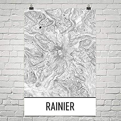 Mt Rainier Topographic Map.Amazon Com Modern Map Art Mount Rainier Print Mt Rainier
