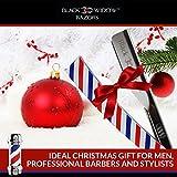 Barber-Straight-Razor-Kit-Durable-Barber-Straight-Edge-Razor-Kit-with-20-Pre-cut-Derby-Straight-Razor-Blades-Straight-Razor-Shaving-Kit-Straight-Blade-Razor-Barber-Pole-by-Black-Widow-15mm