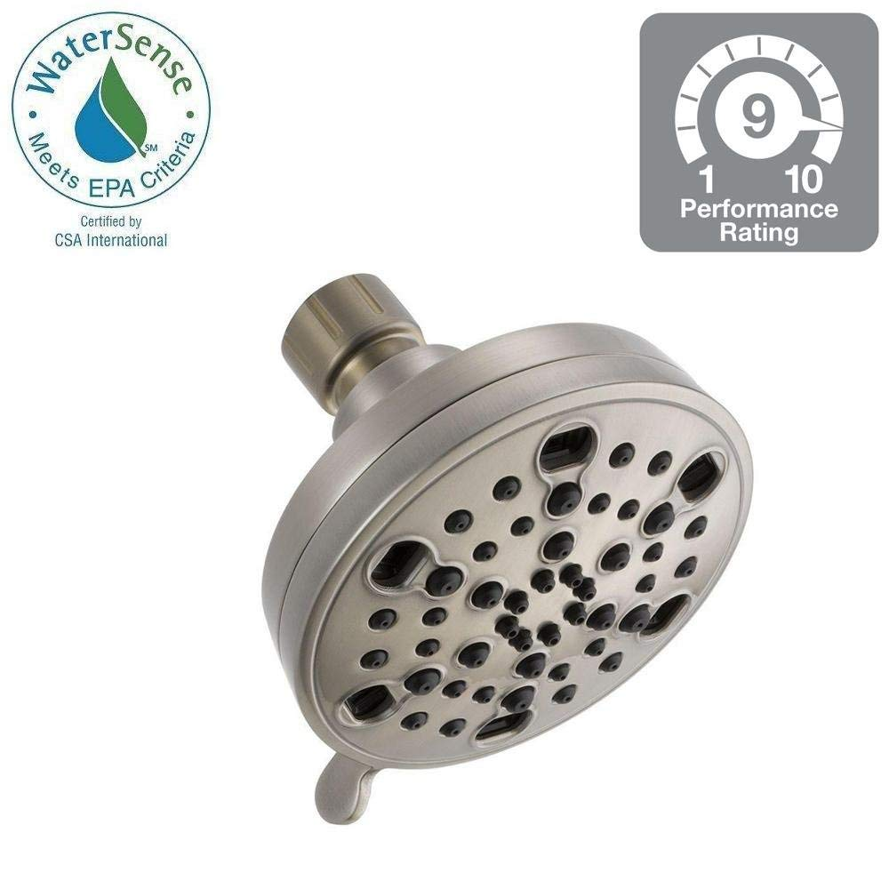 Delta 5-Spray 4 in. H2Okinetic Shower Head in Brushed Nickel-75559SN