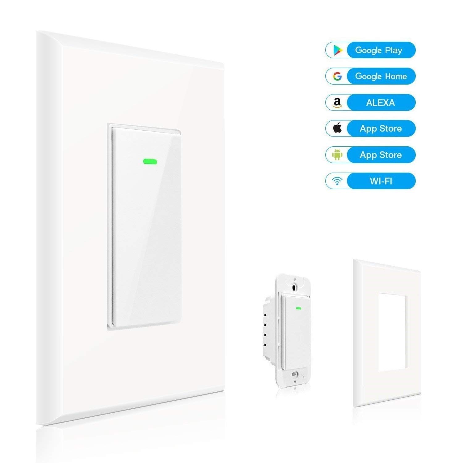 Smart Wi-Fi Light Switch No Hub Required Compatible with Amazon Alexa and Google Assistant Remote Control/Schedule Your Fixtures Anywhere No Hub Required Overload Protection 15A Neutral Wire Required