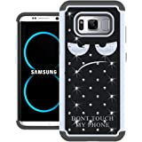 Galaxy S8 Case, UrSpeedtekLive [Shock Absorpt] Studded Rhinestone Bling Hybrid Dual Layer Armor Defender Protective Case Cover for Samsung Galaxy S8 - Don't Touch