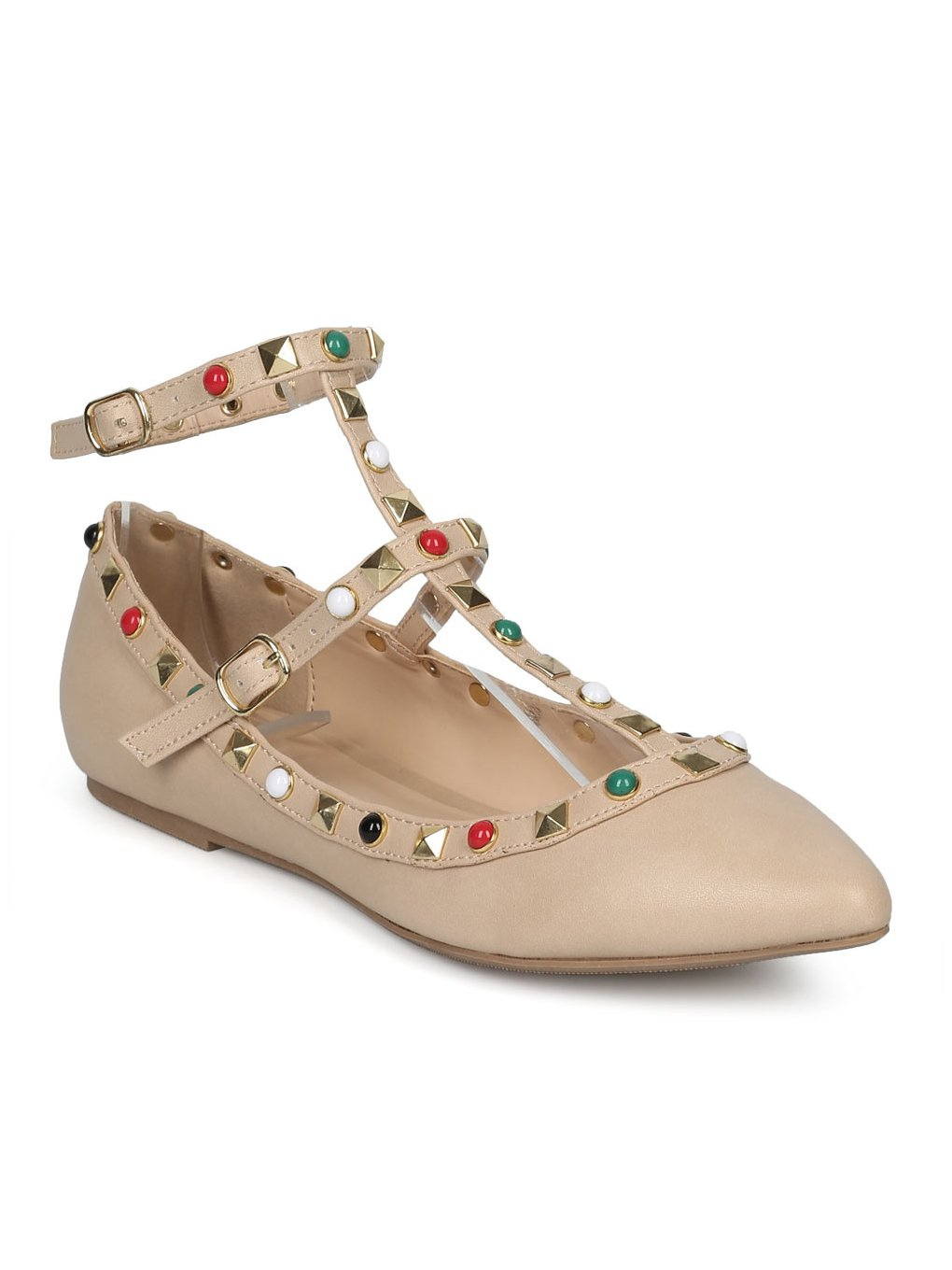 Alrisco Women Leatherette Pointy Toe Studded and Beaded Ankle Strap Flat HD69 - Natural Leatherette (Size: 8.5)