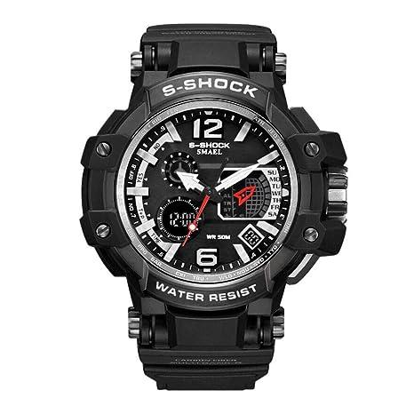 51234f4e4 SMAEL Hombre Militar Reloj Deportivo Analógico Digital impermeable al aire  libre electrónico retroiluminación LED Alarma resistente