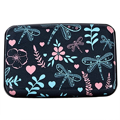 Aluminum Wallet RFID Blocking Slim Metal Business Credit Card Holder Hard Case (Dragonfly and flower nature pattern)