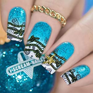 Whats Up Nails - B020 Take Me to the Sea Stamping Plate for Nail Art Design