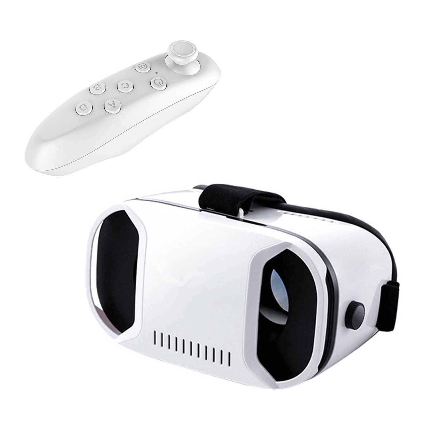 Tsanglight 3D VR Headset/Glasses Virtual Reality Headset with Remote Controller for Android Samsung Galaxy S7 Edge/S7/S6/S5, IOS iPhone 7/6/6S Plus/SE & All Other SmartPhones[4.0-6.1 inch] - White
