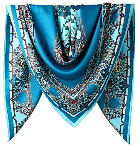 """40"""" Women Twill Satin Polyester Silk Feeling Square Hair Wrapping Sleeping Square Scarfs Air Force Blue Geometric Square Pattern"""