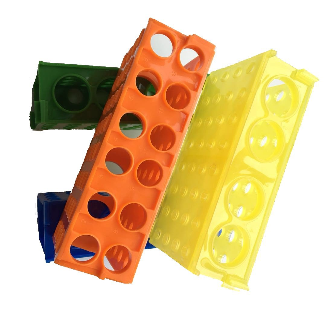 Round Plastic 32 Mini Slots 4 Way Laboratory Plastic Test Tube Rack Holder Assorted Colors , Blue, Green, Orange , Yellow,Pack of 4 Yellow, Pack of 4 Muhwa eCommerce Co. Ltd