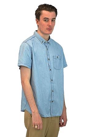 2690487c Topman Mens Short Sleeve Denim Shirt | Collared Button Down Quality ...