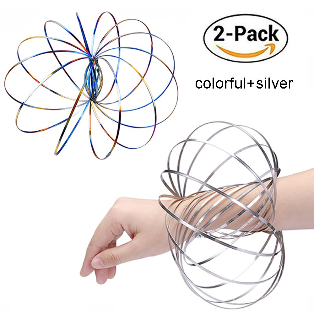 INSIST Magic Flow Ring for Kids,Kinetic Spring Toy Interactive 3D Gravity Ring,Silver&Rainbow(2 Pack,5 inch)