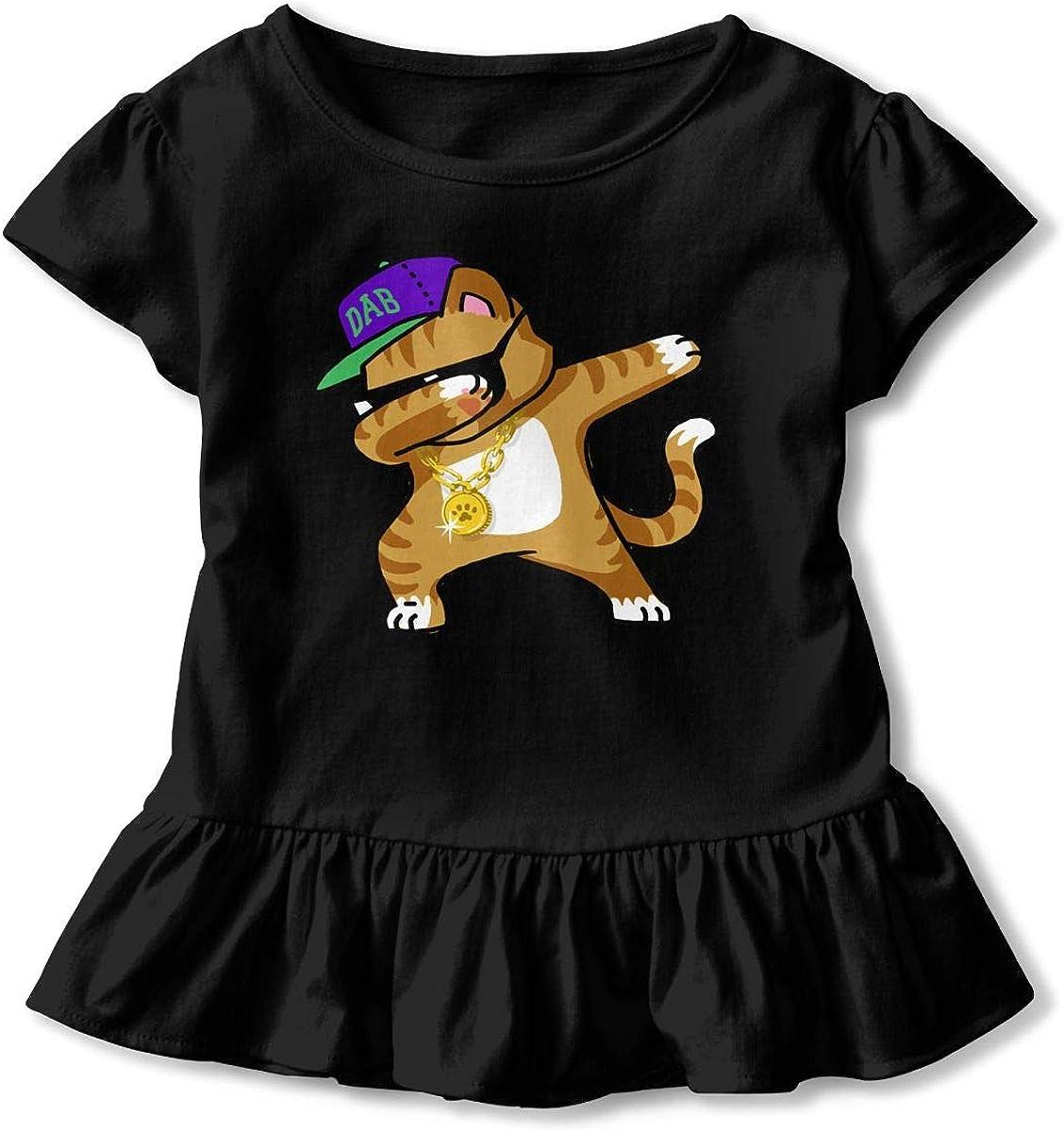 Dabbing Cat Funny Toddler Girls T Shirt Kids Cotton Short Sleeve Ruffle Tee