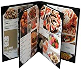 3 Pcs of Restaurant Menu Covers Holders 8.5'' X 11'' Inches, 4panel 6view,Sold By Case,With Clear PVC sheets for Paper Protection