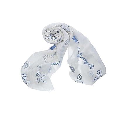 écharpe femme ROMEO GIGLI blanc pashmina fantaisie florale 100% viscose VN316