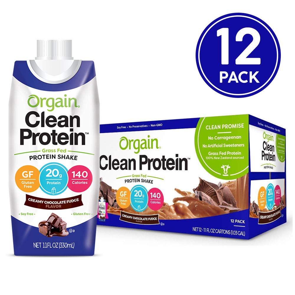 Orgain Grass Fed Clean Protein Shake, Creamy Chocolate Fudge - Meal Replacement, Ready to Drink, Gluten Free, Soy Free, Kosher, Non-GMO, 11 oz, 12 Count by Orgain
