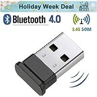 HANPURE Adaptador USB Bluetooth 4.0, Bluetooth Dongle, Plug & Play 2.4 GHz, Auriculares Bluetooth, Mouse, Teclado, impresoras, PC, Compatible con Windows 10/8.1/8/7 / Vista/XP (Negro)