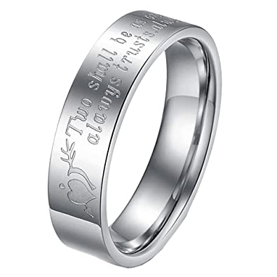 8c9abbf2e7 Amazon.com: UM Jewelry Promise Engraved Rings Men Women Stainless Steel  Matching Love Band for Him and Her: Jewelry