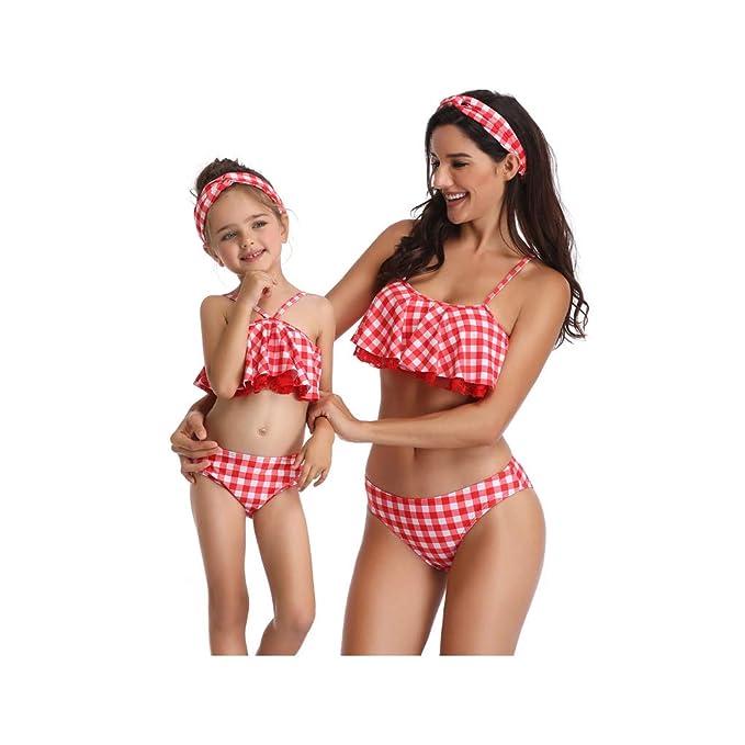 9162c3eb12 Madre e Hija Ropa Bikinis Cuadros Traje de baño Mujer Dos Piezas Ropa de baño  Cintura