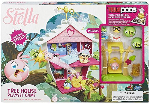 Hasbro Angry Birds Stella Telepods Tree House Playset Game [Stella, Luca, & Poppy] (Stella Angry Bird)
