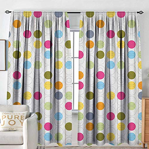 Blackout Thermal Insulated Window Curtain Valance Grunge,Retro Revival Pattern with Circles and Colorful Dots Abstract Style Antique Design, Multicolor,Rod Pocket Valances 72