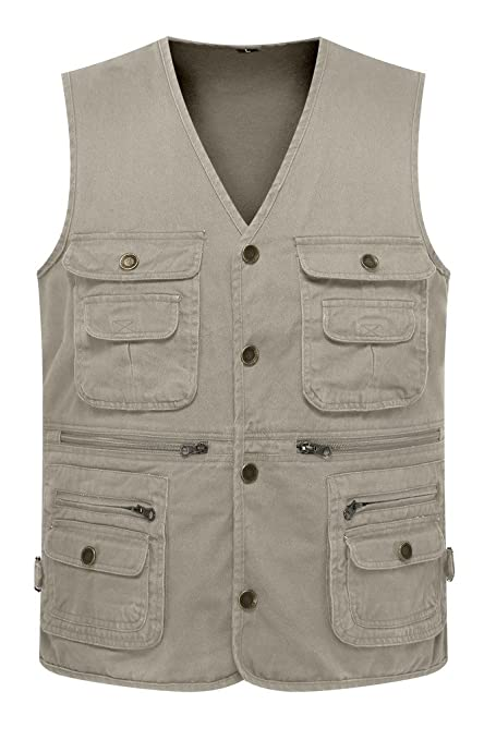94197ced425 Wantdo Men s Multiple Pockets Cotton Safari Camping Vest US Small Khaki