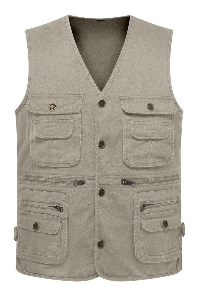 Wantdo Men's Multiple Pockets Cotton Safari Traveling Vest US Medium Khaki