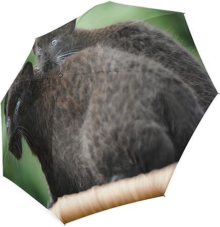 Custom Cute Brown Bear Cubs Compact Travel Windproof Rainproof Foldable Umbrella