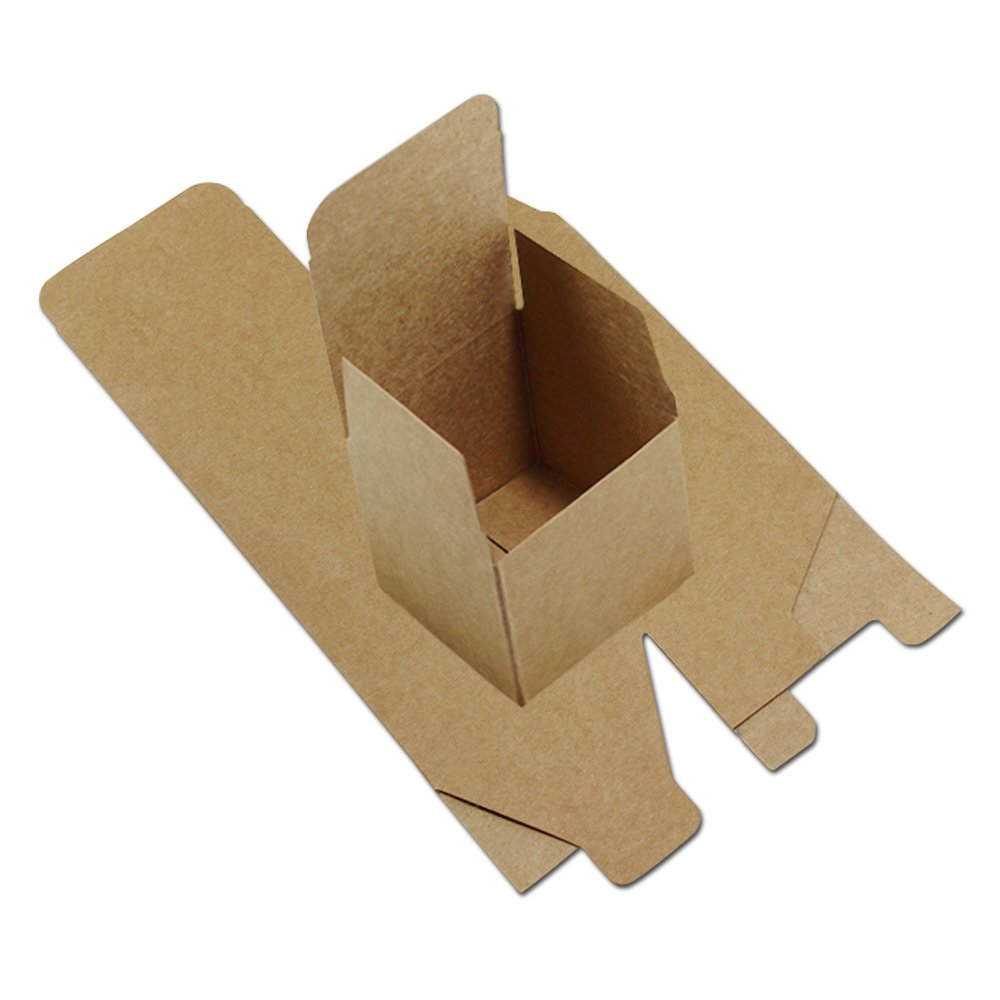 Brown Kraft Square Cardboard Jewelry Gift Boxes Kraft Paper Foldable Wedding Party Favor Christmas Pack Box for Cake Merchandises Toy Game Invitation Packaging Wrapping (3.9x3.9x3.9 inch, 150 pieces)