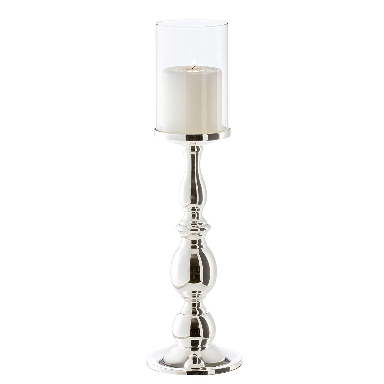 anlaufgesch/ützt EDZARD Kerzenleuchter//Windlicht Mascha edel versilbert H/öhe 28 cm f/ür Kerzen bis /ø 10 cm