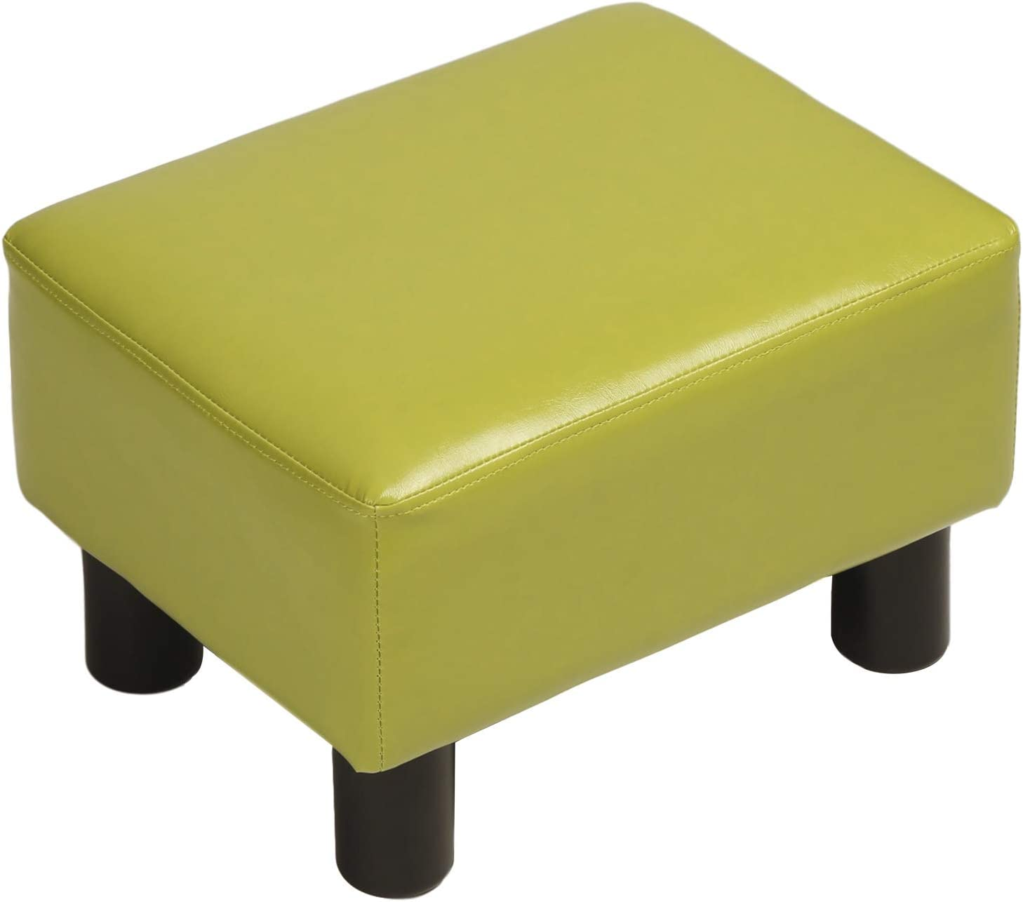 windaze Ottoman Footrest Stool PU Leather Seat Couch Small Chair,Green