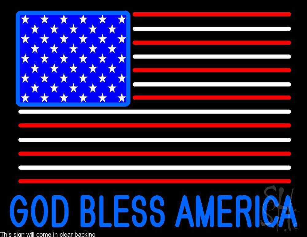 God Bless America Clear Backing Neon Sign 24'' Tall x 31'' Wide by The Sign Store