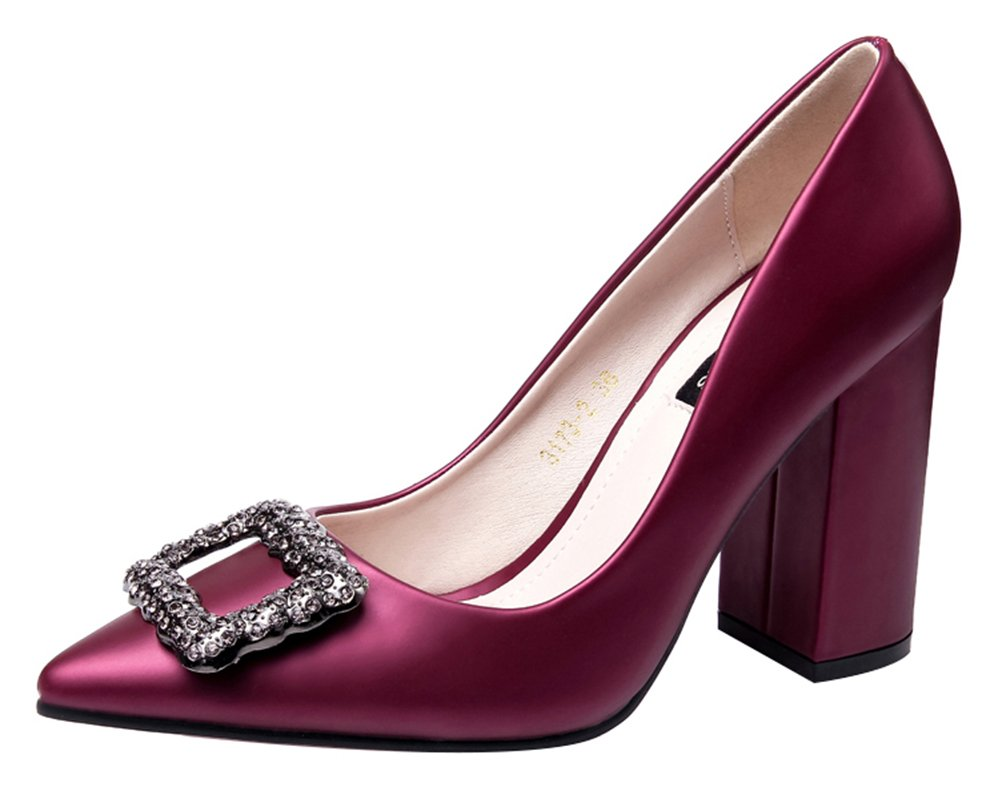 T&Mates Womens Pointed Toe Block Chunky Heel Slip Office Daily Dress Rhinestone Buckle Pumps Shoes (7 B(M) US,WineRed)
