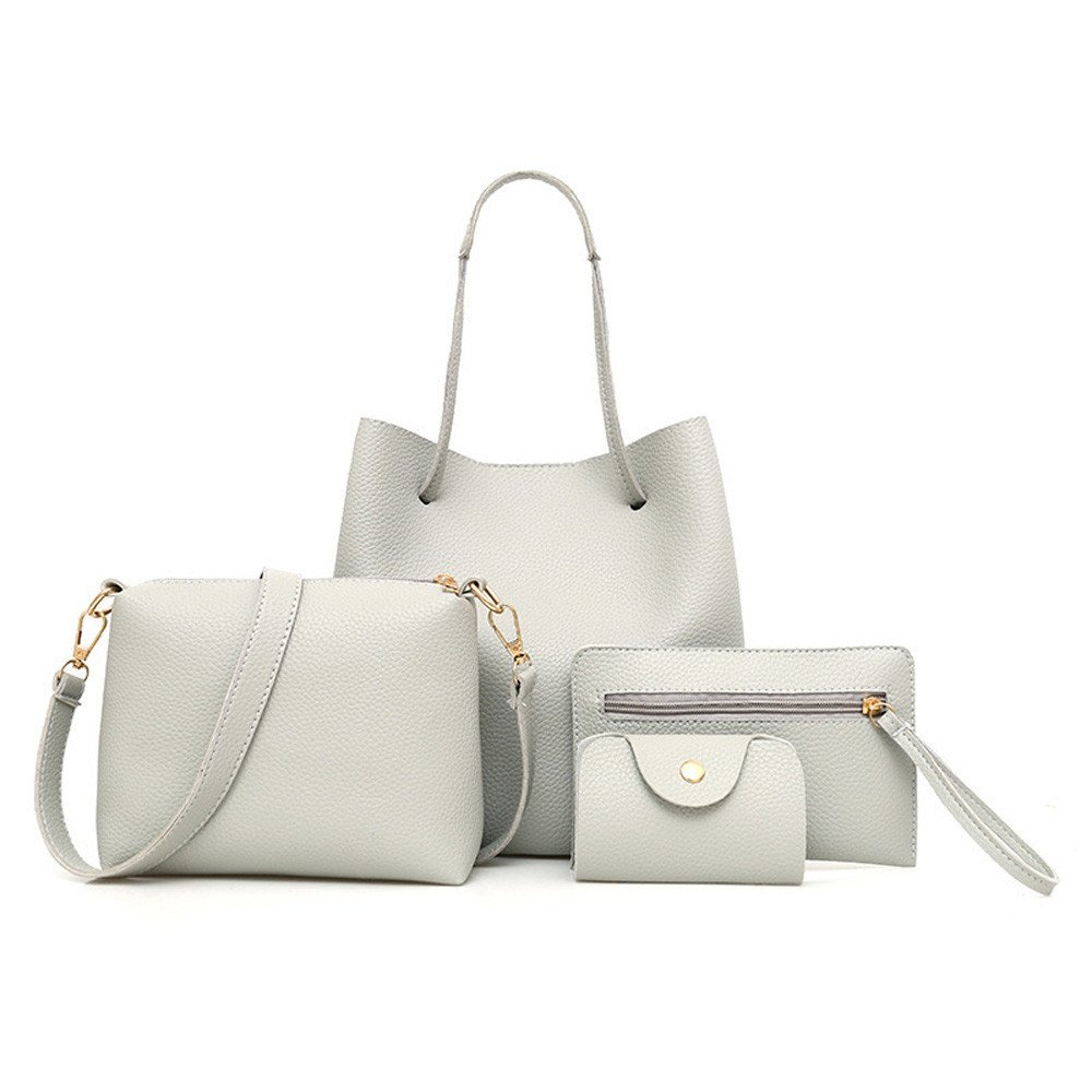 WEUIE 4pcs Set Women Fashion Leather Handbags Tote Bag + Shoulder Messenger Bag + Top Handle Satchel Purse + Card Holder