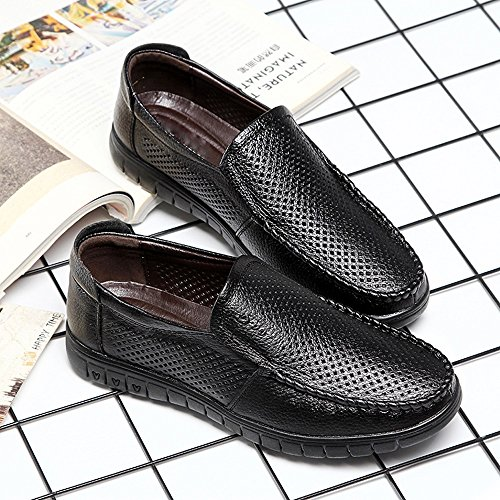 Ruiyue Men Loafers Shoes, Slip-on Breathable Perforation Genuine Leather Upper Flat Soft Sole Driving Loafer for Men Black
