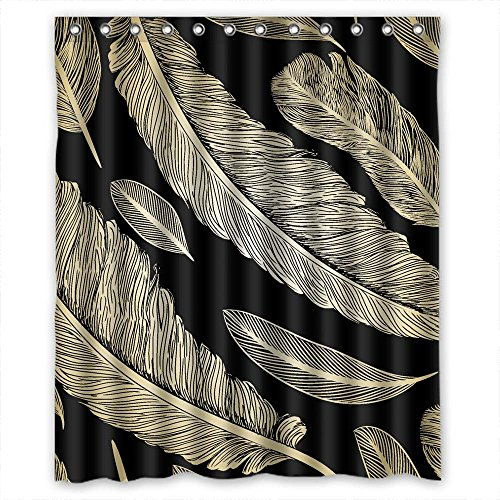 Sagatek Feather Bathroom Curtains Polyester Best For Couples Birthday Him Valentine Kids. Durable Width X Height / 60 X 72 Inches / W H 150 By 180 - Seashell Feathers Hen