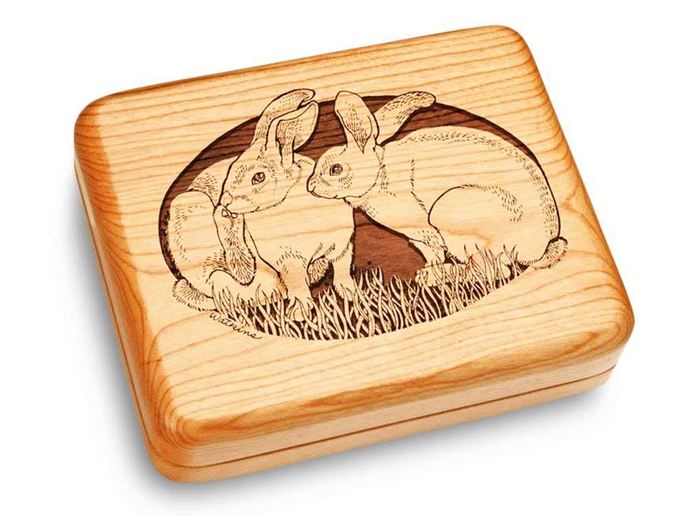 Heartwood Creations Music Box 6x5 - Two Rabbits - Fur Elise