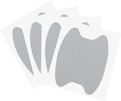 Silver 4pcs Universal 3D Carbon Fiber Car Door Handle Paint Scratch Protector Sticker Auto Door Handle Scratch Cover Guard