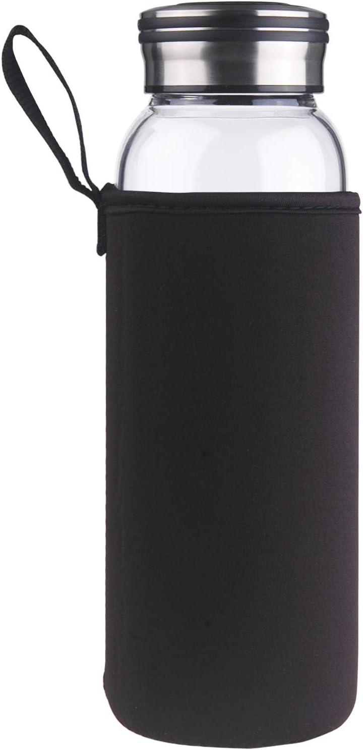 Cleesmil Reusable Glass Water Bottle with Neoprene Sleeve BPA Free 32 oz