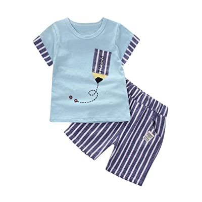 59487696e Iuhan Baby Boys T-Shirt, 6-24Months Infant Striped Pencil Tops Pants  Outfits Clothes