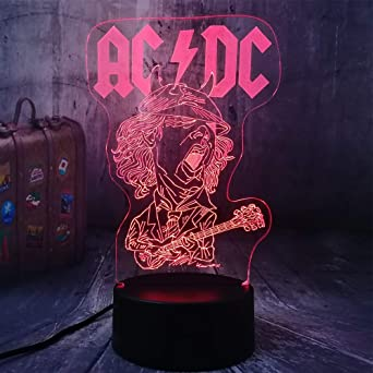 Cool AC/DC Banda de Rock Fans Musicales Mejor Regalo 3D LED ...