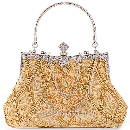 (LONGBLE Women's Vintage Beaded Sequin Evening Bag Wedding Party Handbag Clutch Purse (Gold 1a))
