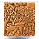 Fun Shower Curtains Carved Thai Elephant On The Wood Wall 102425041 Polyester Bathroom Shower Curtain Set With Hooks