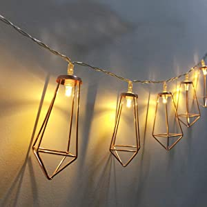 Twinkle Star 20 LED 10ft Diamond String Lights Battery Operated,Geometric String Lights Warm White,Rose Gold Metal Lamps Decor for Indoor Wedding Party Bedroom Christmas
