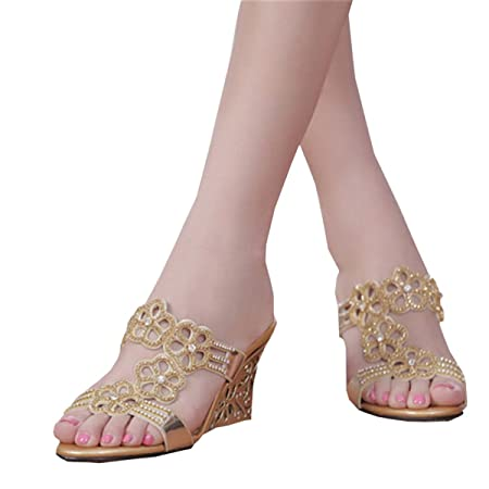 b126199901b5 DFB Sexy Sandals Female Rhinestone Slippers Fashion High Heels Fish Head  Slippers Female Slope Travel Leisure Slippers For Women