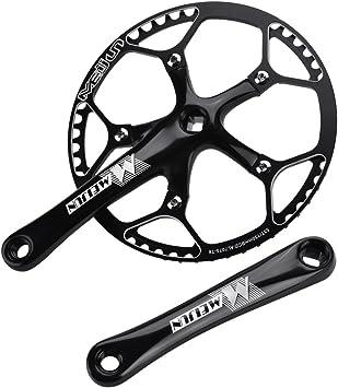 Dilwe Bielas de Sola Velocidad de Bicicleta Bielas de Aleación Aluminio de Bicicleta de Carretera(Negro): Amazon.es: Deportes y aire libre