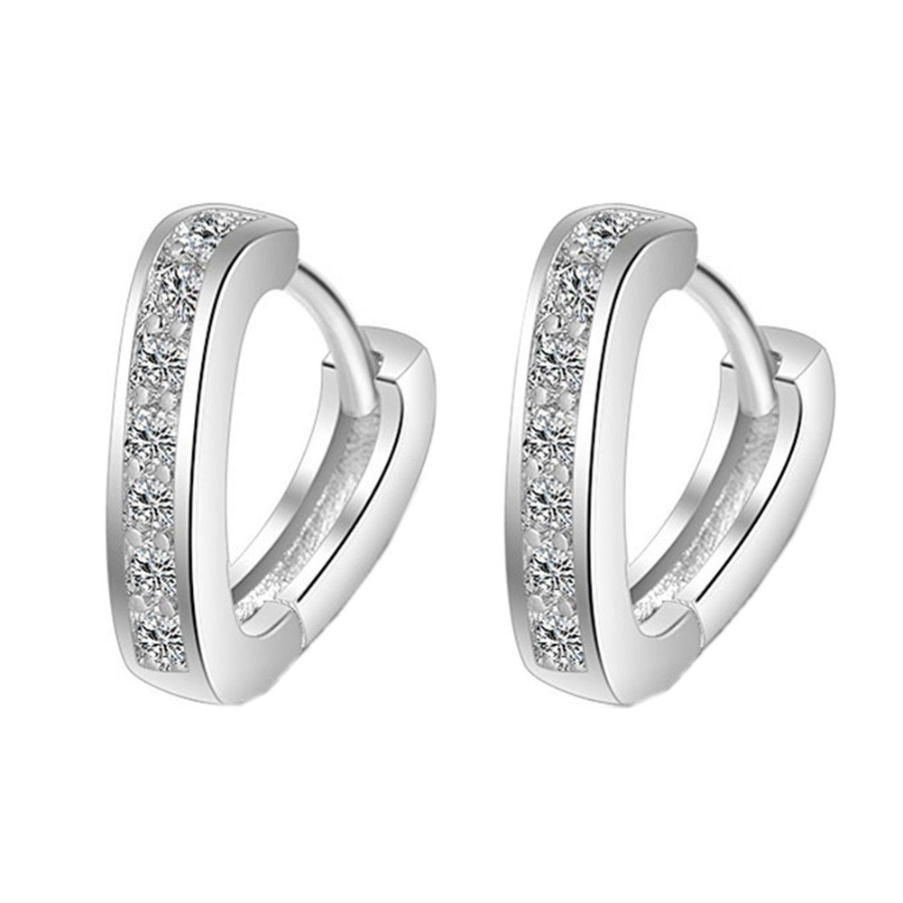 925 Sterling Silver Plated Vintage Cubic Zirconia Single row drilling Rhinestones V Shape Womens Hoop Earrings XCFS XCFS225